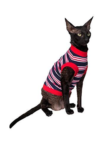 Kotomoda CAT WEAR T shirt Dark blue red white stripes B07SVPXRN9