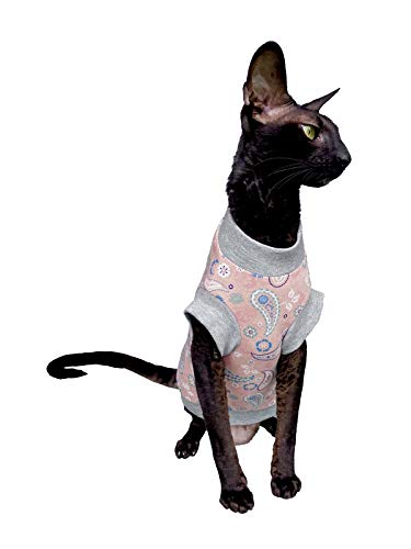 Kotomoda Cats T shirt Pink Paisley for Sphynx and naked cats B08D9TJPB2