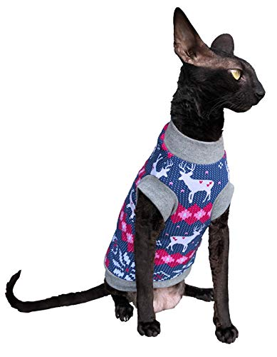 Kotomoda Cats WARM T SHIRT for hairless and naked sphynx cats Santas Deer sweater B07Y3WW15P