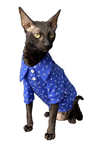Kotomoda Hairless Cats clothes cotton Polo Sailor for Sphynx Cats B084G36FF9