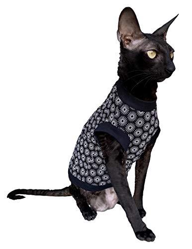 Kotomoda Hairless Cats cotton stretch T shirt Black Spring for Sphynx Cats B08942KV6J