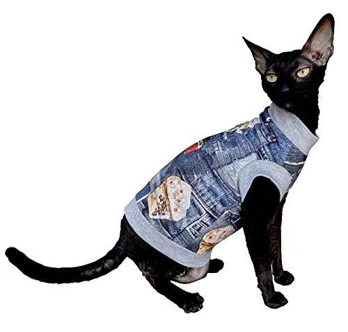 Kotomoda Hairless Cats cotton stretch T shirt Ice Cream for Sphynx Cats B08634G9V4