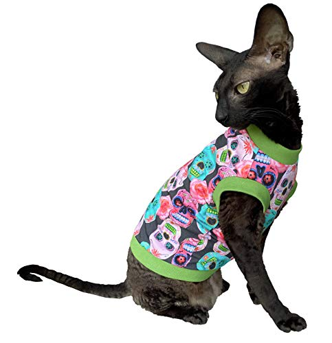 Kotomoda Hairless Cats cotton stretch T shirt Mexican sculls for Sphynx Cats B08BG4MWWC