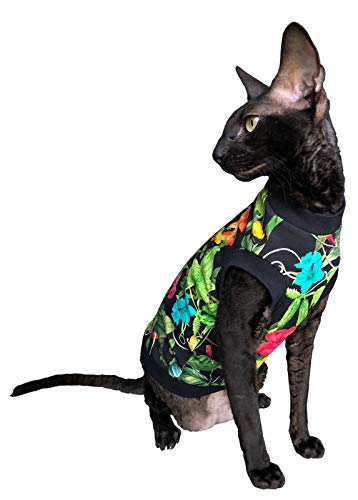 Kotomoda Hairless Cats cotton stretch T shirt Night Flowers for Sphynx Cats B07Z286LBD