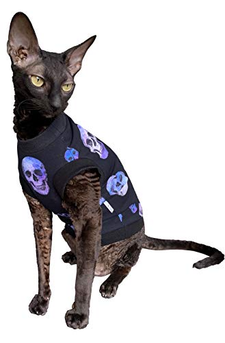 Kotomoda Hairless Cats cotton stretch T shirt Purple Sculls for Sphynx Cats B086369ZN4