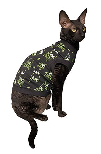 Kotomoda Hairless Cats cotton stretch T shirt Sculls glow in the dark for Sphynx Cats B0842Z99WW