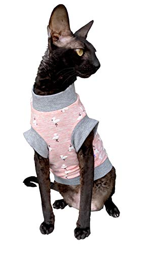 Kotomoda Hairless Cats cotton stretch T shirt Small Flamingo for Sphynx Cats B087PF73S1