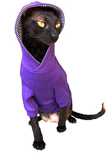 Kotomoda Sphynx Cats Hoodie InPURPLE Naked Cat Hairless Cat Clothes B081279XNV