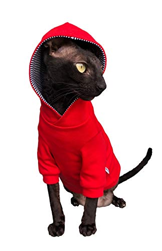 Kotomoda Sphynx Cats Hoodie InRed Naked Cat Hairless Cat Clothes B07YN5C7K2