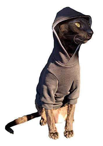 Kotomoda Sphynx Cats Hoodie InbLACK Naked Cat Hairless Cat Clothes B0863KRVSZ