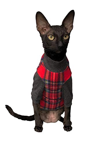 Kotomoda Sphynx Cats turtleneck Plaid Red Naked Cat Hairless Cat Clothes B07ZPH52DK