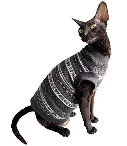Kotomoda cats Winter wool sweater Grey patterns Naked Cat Hairless Sphynx Cat Clothes B08LQRNY76