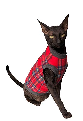 Kotomoda cats sweater Plaid Red Grey Naked Cat Hairless Sphynx Cat Clothes B08LL93GDP