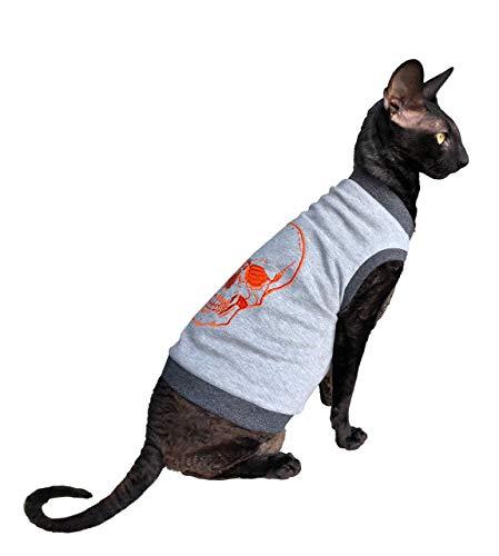 Kotomoda sphynx Cats T shirt embroidery ORANGE Scull 2 B07X315XS2