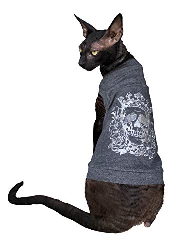 Kotomoda sphynx Cats T shirt embroidery SILVER CROWN Scull 3 B07X7DKV87