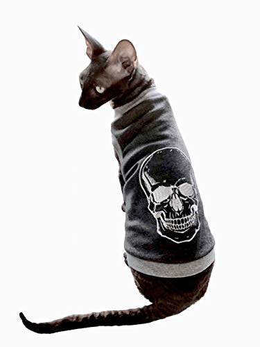 Kotomoda sphynx Cats T shirt embroidery Silver Scull 2 B07WDD2QND