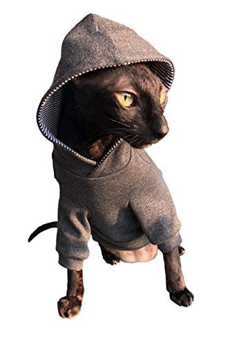 Sphynx Cat Dark grey Hoodie Home sweet home KotomodaCatWear Cat Clothes For Naked and HairlessCats B07WQPWZ9Q